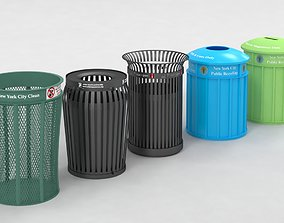 New York street Trash Bins Recycling 3D model
