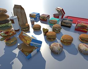 3D asset Fast food with LOD