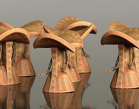 3D asset Headrest Africa Wood Furniture Prop 5