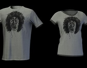 3D model male - female t-shirt lowpoly game ready 3