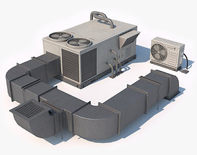 3D asset Rooftop AC Unit Low Poly