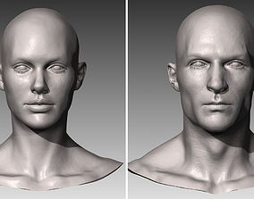 Realistic White Male and Female Head Bundle 3D model