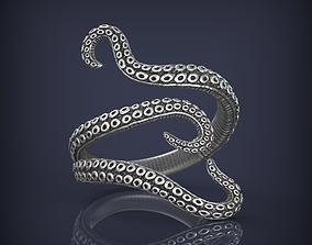 brilliant Tentacles octopus ring jewelry 3d print model