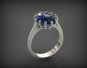 Ring with Sapphire 3D print model