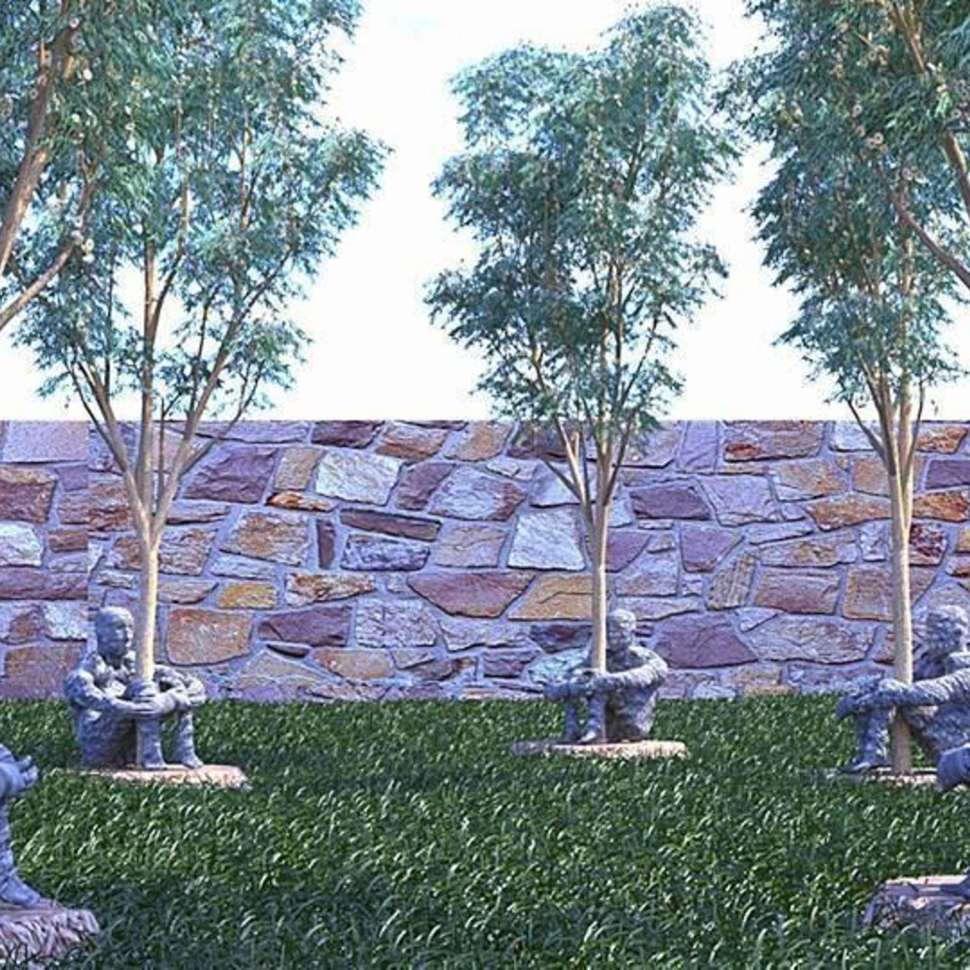 Statue of men guarding trees