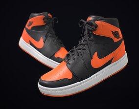 Sneaker Nike Air Jordan Black Orange 3D asset low-poly