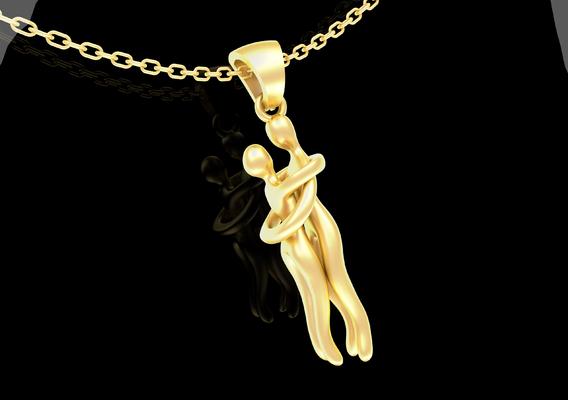 HUG Pendant jewelry Gold 3D print model