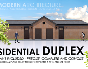 3D model Duplex Residential Architecture and Development 2