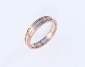 Three part ring 3D print model
