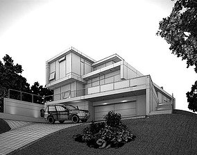 Modern House With Garage 3D model
