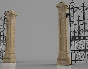 Weathered column and gate 3D print model