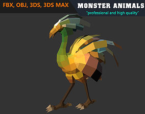 Low Poly Ostrich Cartoon Monster 3D Model animated