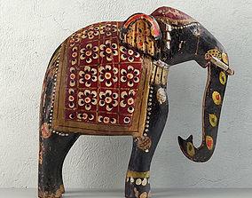 Vintage Indian Solid Wood Elephant 3D