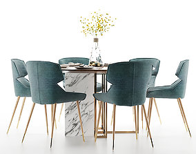 3D model Modern dining table and chair furniture round
