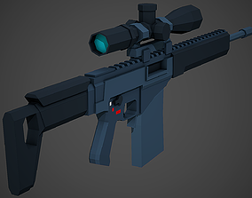 3D model Stylized SVCh Rifle Low Poly Mobile Ready