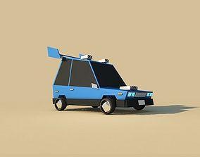 3D Cartoon Low Poly Sport Car city