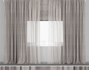 3D Wide brown curtains with roman blinds
