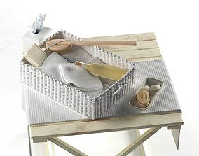 Bathroom Toiletries on Wicker Tray 3D