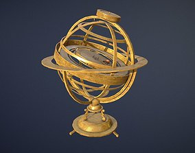 low-poly Old Brass Solar System device game-ready asset