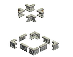 Square platform - base guardrail 3D model