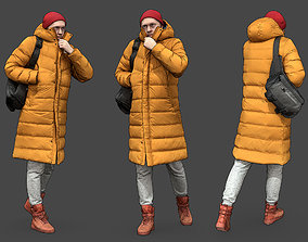 Stylized Man walking in yellow jacket 3D model