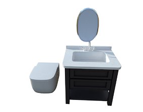 Washbasin Cabinet with Toilet 3D asset low-poly