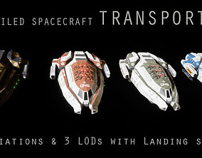 3D asset Sci-fi Spaceship Transport