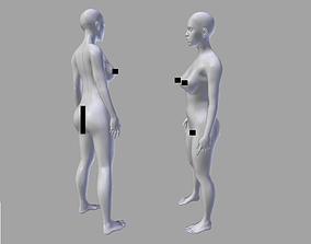3D asset Female Body Base Mesh all details