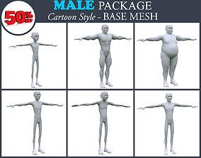 Low poly Cartoon Male Basemesh Package 001 3D model