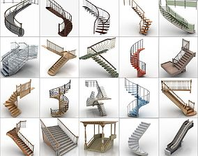3D model High Quality 100 Stair Collection