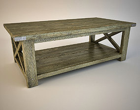 Rustic X Coffee Table 3D asset