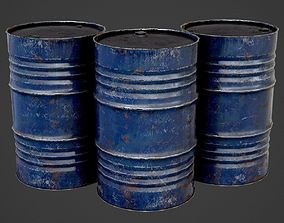 Oil Barrel blue PBR Game-Ready 3D asset