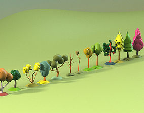 3D model realtime Low Poly tree collection