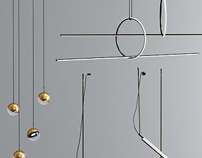 3D model Flos Linear Suspension And Dora Pendant