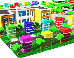 low poly CITY BUILDING 3D model animated