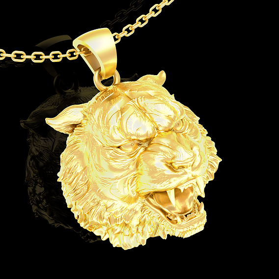 Tigger Head Pendant jewelry Gold 3D print model