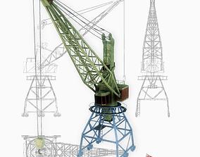 Port gantry crane 1 low poly 3D model