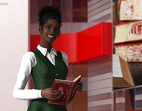 Black Teenage Schoolgirl Standing Pose 3D model