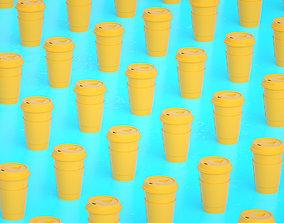 Coffee cups array 3D asset