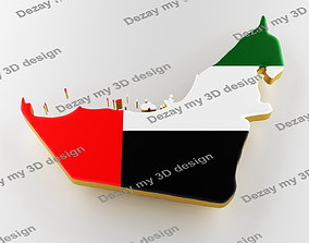 UAE map image with flag 3D