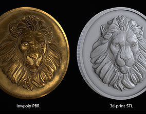 Lion Coin lowpoly PBR and Hipoly asset 3D model realtime