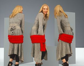 3D asset Blonde in Knit Grey Dress and Red Scarf Posing