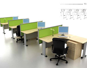 work station office interior-collection 3D asset