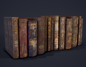 Medieval Books Row 2 Designs 1 and 2 3D model