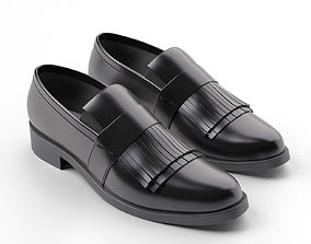 Black Fringed Penny Loafers loafers 3D