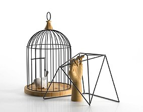 Decor Bird in Cage and Wooden Hand 3D