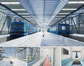 Train Station 01 3D asset VR / AR ready city