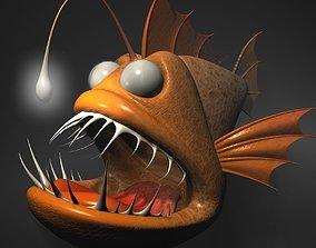 3D model Cartoon Anglerfish RIGGED and ANIMATD