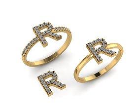 3D printable model Alphabet letter ring R