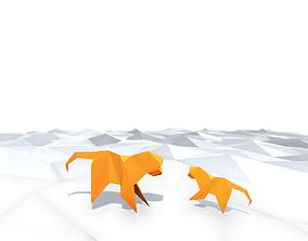 3D asset Origami Monkey